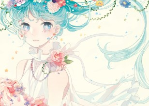 Konachan.com - 203613 aqua_eyes aqua_hair flowers hatsune_miku long_hair mig_(36th_underground) summer_dress vocaloid