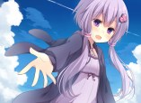 Konachan.com - 204749 clouds dress komomo_(ptkrx) long_hair purple_eyes purple_hair sky twintails vocaloid yuzuki_yukari