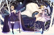 Konachan.com - 205015 2girls blonde_hair bow breasts cape cleavage dress hachini ribbons saber saber_alter saber_lily sword thighhighs tree weapon zettai_ryouiki