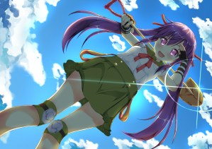 Konachan.com - 207031 blush bow clouds gakkou_gurashi! long_hair purple_eyes purple_hair ribbons seifuku skirt sky tagme_(artist) twintails weapon wristwear