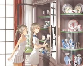 Konachan.com - 199513 2girls flat_chest gray_hair long_hair original pink_eyes seifuku summer_dress throtem