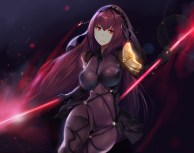 Konachan.com - 212371 armor bodysuit cropped erect_nipples fate_grand_order fate_stay_night headdress hewsack long_hair purple_hair red_eyes skintight spear weapon