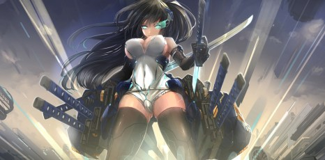 Konachan.com - 213289 cameltoe cleavage elbow_gloves kikivi leotard long_hair mechagirl original sideboob sword thighhighs weapon