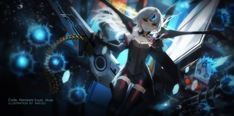 Konachan.com - 214869 elsword eve_(elsword) gun long_hair orange_eyes swd3e2 thighhighs weapon white_hair zettai_ryouiki