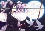 Konachan.com - 215714 animal bird black_hair blue_eyes bow_(weapon) caidychen flowers gloves katana long_hair moon night original petals stars sword weapon