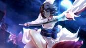 Konachan.com - 217212 arms_ai blue_eyes brown_hair city japanese_clothes kara_no_kyoukai katana kimono night ryougi_shiki short_hair stars sword weapon