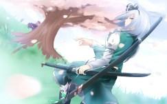 Konachan.com - 217444 blue_eyes cherry_blossoms katana konpaku_youmu sword tagme_(character) touhou weapon white_hair