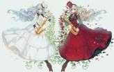 konachan-com-199829-2girls-blonde_hair-blue_eyes-blue_hair-choker-cross-dress-flowers-hat-instrument-lolita_fashion-long_hair-miemia-original-petals-red_eyes-rose