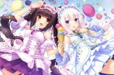 konachan-com-200079-2girls-bell-blue_eyes-brown_eyes-catgirl-choker-dress-headdress-ice_cream-long_hair-nekopara-sayori-scan-tail-thighhighs-white_hair-wristwear