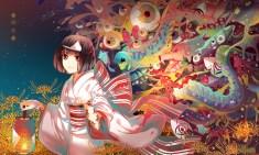 konachan-com-200116-bow-brown_hair-flowers-instocklee-japanese_clothes-noragami-nora_%28noragami%29-red_eyes-short_hair-wristwear-yukata