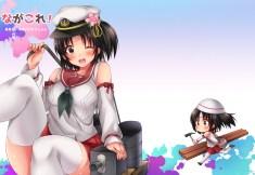 konachan-com-226041-black_hair-blush-brown_eyes-chibi-hat-kantai_collection-nagara_kancolle-ponytail-seifuku-short_hair-sk02-thighhighs-wink-zettai_