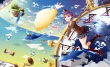konachan-com-201100-animal-book-bubbles-bunny-dolphin-fish-hat-kneehighs-original-pink_eyes-pink_hair-shakugan_natural_stay-skirt-umbrella-water-waterfall