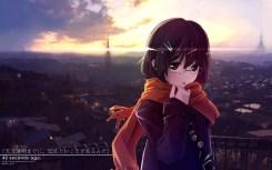 konachan-com-201228-black_eyes-brown_hair-city-clouds-glasses-landscape-matsumae_takumi-original-scarf-scenic-sky-sunset-watermark