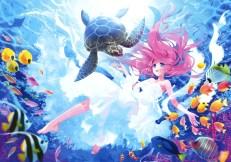 konachan-com-201230-animal-barefoot-blue_eyes-carnelian-dress-fish-long_hair-pink_hair-turtle-underwater-water