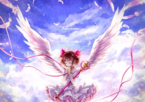 konachan-com-201290-brown_hair-card_captor_sakura-clouds-collar-dress-kinomoto_sakura-momoko_artist-ribbons-sky-staff-wings