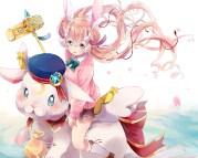 konachan-com-220765-animal-animal_ears-blonde_hair-blue_eyes-bow-bunnygirl-doro-chan-hat-kneehighs-long_hair-rabbit-ribbons-rukako-seifuku-twintails-weapon