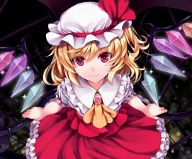 konachan-com-222167-blonde_hair-dress-flandre_scarlet-hat-kitou_kaitai-pink_eyes-short_hair-touhou-vampire-weapon-wings