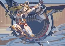 konachan-com-222475-aqua_eyes-armor-blonde_hair-breasts-cleavage-gloves-headdress-kondou_totetsu-long_hair-mechagirl-original-sword-weapon-wings