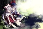 konachan-com-205350-2girls-barefoot-bow-food-fujiwara_no_mokou-hat-kamishirasawa_keine-long_hair-shuzi-skirt-touhou-water