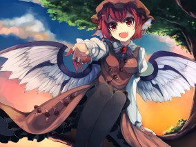 konachan-com-206812-animal_ears-bei_mochi-fang-hat-mystia_lorelei-pantyhose-red_eyes-red_hair-short_hair-sky-sunset-touhou-tree-wings
