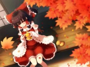konachan-com-207523-autumn-fruit-gengetsu_chihiro-hakurei_reimu-japanese_clothes-leaves-miko-orange_fruit-touhou