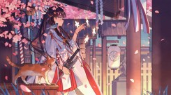 konachan-com-227996-animal-bird-black_hair-blue_eyes-building-cat-japanese_clothes-kimono-long_hair-petals-ribbons-sword-weapon-zicai_tang