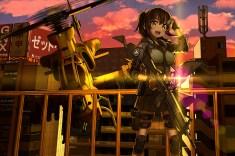 konachan-com-228874-aircraft-blush-brown_hair-building-clouds-gloves-green_eyes-gun-original-ponytail-shiono_fuya-short_hair-sunset-weapon