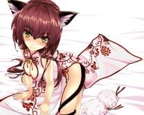 Konachan.com - 203932 animal_ears bell blush breasts brown_hair catgirl chinese_clothes chinese_dress cleavage cropped kitou_kaitai nopan original tail yellow_eyes