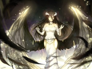 Konachan.com - 204377 albedo black_hair demon elbow_gloves feathers horns jpeg_artifacts long_hair overlord signed sishenfan wings yellow_eyes