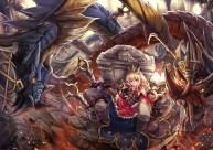 Konachan.com - 204677 blonde_hair book boots bow cagliostro_(granblue_fantasy) dragon dress granblue_fantasy ks long_hair purple_eyes thighhighs tiara wristwear