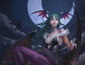 Konachan.com - 205502 breasts cleavage darkstalkers leotard long_hair moon morrigan_aensland night pantyhose riyueseven signed stars succubus wings
