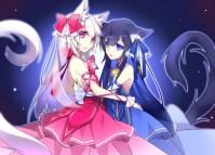 Konachan.com - 220064 animal_ears black_hair blue_eyes catgirl dress kawasaki_toiro long_hair original red_eyes tail white_hair