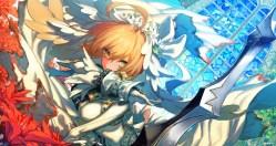 konachan-com-229746-blonde_hair-bodysuit-breasts-chain-fate_series-flowers-gloves-green_eyes-headdress-inooka-saber-saber_bride-skintight-sword-waifu2x-weapon