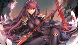 konachan-com-231094-bodysuit-fate_grand_order-fate_series-gloves-headdress-ice_ice_aptx-long_hair-purple_hair-red_eyes-skintight-spear-sword-weapon