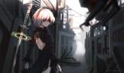 Konachan.com - 234061 blindfold dress gloves gray_hair mazumaro nier nier-_automata short_hair sword water weapon yorha_unit_no._2_type_b