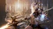 Konachan.com - 234703 armor blonde_hair breasts lee_jung_hun long_hair magic navel original realistic spear underboob weapon