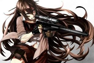 Konachan.com - 235564 aliasing blue_eyes brown_hair gloves gun long_hair navel original seifuku skirt tef weapon