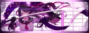 Konachan.com - 237783 black_hair dualscreen haiiro_gundan katana long_hair original petals purple_eyes ribbons seifuku sword weapon