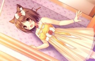 Konachan.com - 226123 animal_ears blush bow brown_eyes brown_hair catgirl choker dress fang game_cg headdress necklace nekopara ribbons sayori short_hair wristwear
