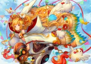 Konachan.com - 234093 alonair animal animal_ears bird blonde_hair clouds flat_chest granblue_fantasy loli long_hair orange_eyes sky thighhighs watermark