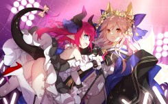 yande.re 375513 animal_ears ass caster_(fate_extra) cleavage dress fate_extra fate_stay_night heels horns lancer_(fate_extra) nopan pointy_ears saru tail