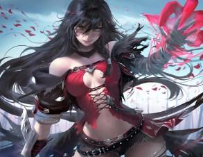 Konachan.com - 236168 bandage black_hair breasts cleavage long_hair sakimichan tales_of_berseria velvet_crowe watermark yellow_eyes