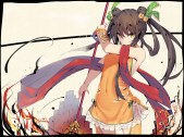 Konachan.com - 236790 black_hair dress long_hair sennen_sensou_aigis tagme_(artist) weapon yellow_eyes