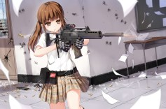 Konachan.com - 240084 blush brown_eyes brown_hair gloves gun kneehighs long_hair original paper skirt twintails weapon yuri_shoutu