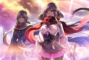 Konachan.com - 243174 bow breasts building city clouds gloves long_hair male original pantyhose pink_eyes scarf short_hair skirt sky sword weapon yuasa_akira