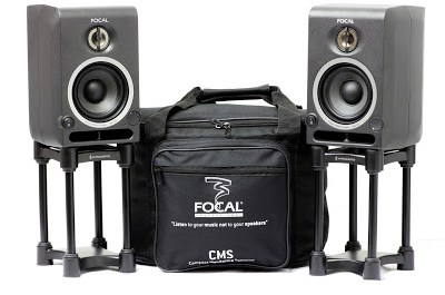 Focal CM40 Active Monitor Speakers and IsoAcoustic L8R155 Speaker Stands available from Kazbar Systems