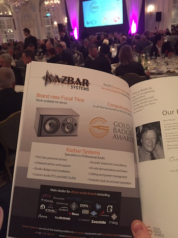 Kazbar Systems Advert BASCA 2015 Gold Badge Awards