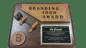 Plaque created by Kaz Bros Design Shop for Branding Iron Award