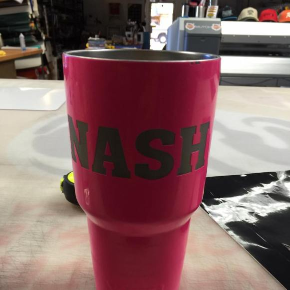 kaz bros design shop pink powder coated Yeti tumbler