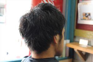 【切る前ななめ後ろ】男髪型夏ヘアメンズショートパーマスタイル